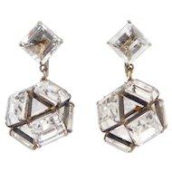 Sterling Art Deco Open Backed Crystal Drop Dome Earrings