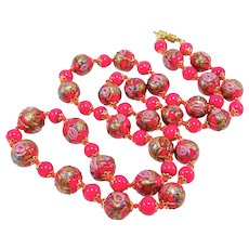 Pretty Holiday Red Venetian Glass Beads Italian Necklace