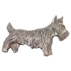 Vintage Sterling Scotty Dog Brooch Terrier So Cute