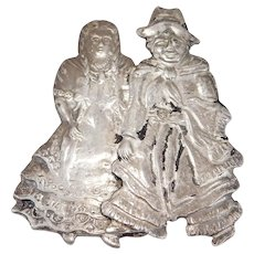 Antique Silver Figural Novelty Brooch Rare Motif