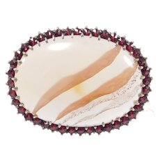 Beautiful Rose Cut Garnets And Banded Agate Brooch Vermeil