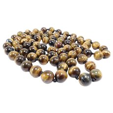 Huge Natural Tiger Eye Beads Necklace Chinese 11mm 42 Inches