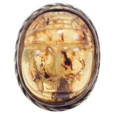 Rare Carved Natural Amber Scarab Ring Egyptian Revival Unique Deco