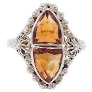 Sterling Arts & Crafts Madeira Citrine Ring Filigree