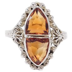 Sterling Arts & Crafts Madeira Citrine Ring Filigree