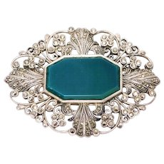 Large Sterling Marcasite Chrysoprase Brooch Very Ornate Beautiful