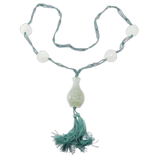 Old Chinese Carved Jade Urn And Beads Necklace