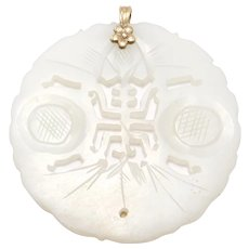 Large 14k Carved Jade Pendant Amulet Old Chinese