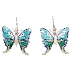 Cloisonne Enamel Silver Chrysoprase Butterfly Earrings