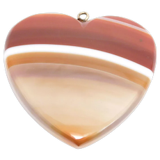 Large Victorian Scottish Banded Agate Heart Pendant