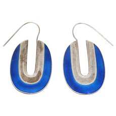 Ornate Cobalt Cloisonne Enamel Silver Earrings