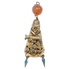 Ornate Old Chinese Hat Ornament Pendant Charm Figural