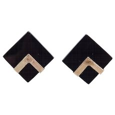 Modernist Black Onyx 14k 585 Geometric Post Stud Earrings
