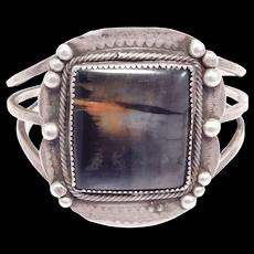 Old Southwest Petrified Wood Silver Cuff Bracelet