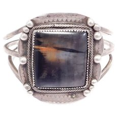 Old Southwest Petrified Wood Silver Cuff Bracelet