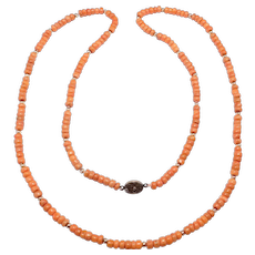 Beautiful Long Salmon Coral Chinese Necklace 65 Grams