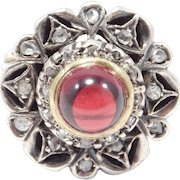 1930's Rose Cut Diamonds 14k And Silver Ring Cabochon Garnet Center