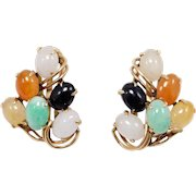 Estate Fine 14k Multi Color Natural Jade Earrings Omega Backs