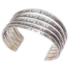 Sterling Navajo Wide Stampwork Cuff Bracelet Pawn