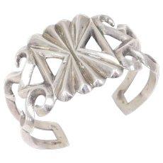 Old Silver Navajo Sandcast Cuff Bracelet Sterling Pawn