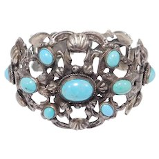 Silver Antique Turquoise Ottoman Empire Ornate Bracelet Austro Hungarian Style