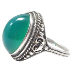Arts And Crafts Sterling Chrysoprase Domed Cab Ring