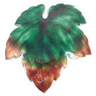 Japanese Silver Enamel Leaf Brooch Beautiful Work