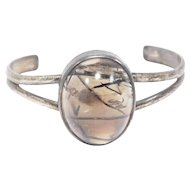 Modernist Sterling Domed Rutile Quartz Cuff Bracelet