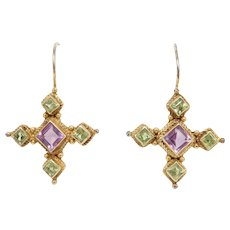 Sterling Vermeil Amethyst And Peridot Drop Earrings Pretty