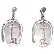 Modernist Figural Sterling Earrings Unique Screwback
