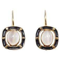 Vermeil Leverback Moonstone And Enamel Earrings