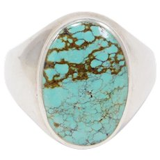 Large Sterling Oval Turquoise Ring Great Matrix Pattern