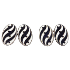 Antique Sterling Enamel Black And White Cufflinks