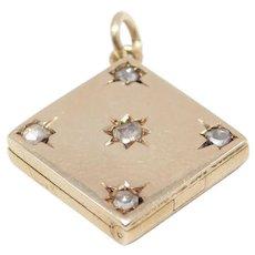 14k Rose Gold Mine Cut Diamonds Locket Victorian Beautiful