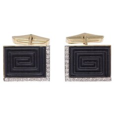 14k Erte Estate Classy Onyx And Diamond Cufflinks Signed Numbered