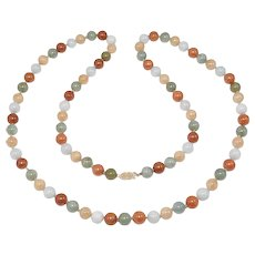 Natural Estate Multi Colored Jade Beads 9mm 14k Clasp 32 Inches Long