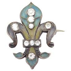 Art Nouveau Plique A Jour Enamel Fleur De Lis Silver Pin French Hallmarks