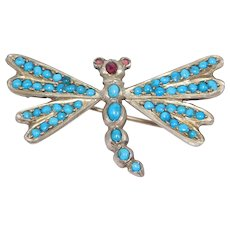 Victorian Persian Turquoise Garnet Dragonfly Brooch Silver C. 1890