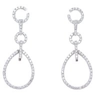EF Collection 14k Diamond Drop Stunning Earrings Over ½ Carat T.W.