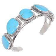 Sterling Five Stone Turquoise Signed Navajo Cuff Bracelet