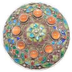 Beautiful Chinese Silver Cloisonne Enamel Butterfly Filigree Pin