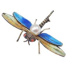 Plique A Jour Enamel Vermeil Filigree Dragonfly Brooch