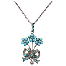 Darling Victorian Silver & Persian Turquoise Lavalier Pendant