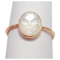 14k Antique Carved Figural Moonstone Ring Rare