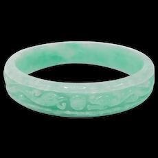 Carved Dragons Jade Estate Chinese Bangle Bracelet