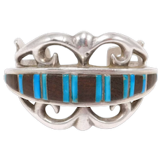 Heavy Sandcast Signed Navajo Cuff With Rosewood And Turquoise Inlay