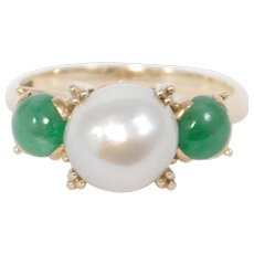 14k Estate Fine Natural Jade 8mm Cultured Pearl Ring Beautiful