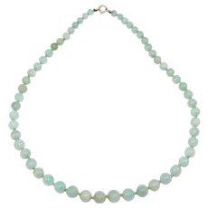 Natural Jade Beads Choker Art Deco 14k Clasp