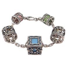 Ornate Silver Artisan Bracelet Mixed Metals Cylindrical Pieces Unusual