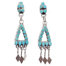 Vintage Turquoise Zuni Petit Point Drop Earrings Posts